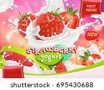 strawberry yogurt. fruits and... | Shutterstock .eps vector #695430688