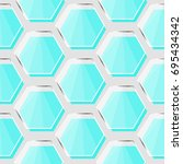 glass hexagon pattern vector    Shutterstock .eps vector #695434342