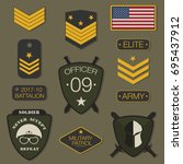 military army badge set... | Shutterstock .eps vector #695437912