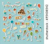 vector set of retro patches ... | Shutterstock .eps vector #695438542