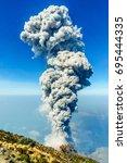 view on eruption of volcanoe...   Shutterstock . vector #695444335