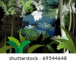 overgrown plants in the jungle | Shutterstock .eps vector #69544648