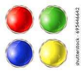 set of colored buttons with... | Shutterstock .eps vector #695446642