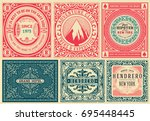 set of 6 old labels. | Shutterstock .eps vector #695448445
