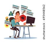 business scary depressed man... | Shutterstock .eps vector #695448562