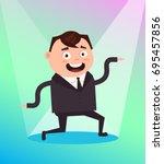 happy smiling office worker... | Shutterstock .eps vector #695457856