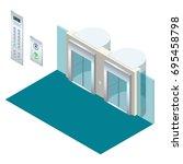 isometric vector elevator lift... | Shutterstock .eps vector #695458798