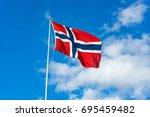 Norwegian Flag In The Wind.