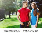 outdoor portrait of young... | Shutterstock . vector #695464912
