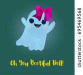 beautiful like a doll ghost...   Shutterstock .eps vector #695469568