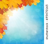 autumn maple leaves on sun and... | Shutterstock .eps vector #695470165