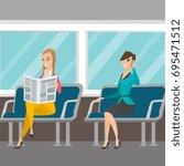 caucasian women traveling by... | Shutterstock .eps vector #695471512