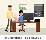 freelancer man and woman... | Shutterstock .eps vector #695481538