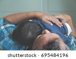 asian toddler boy crying or... | Shutterstock . vector #695484196