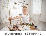 adorable caucasian little... | Shutterstock . vector #695484442