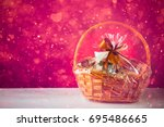 gift basket with festive heart... | Shutterstock . vector #695486665