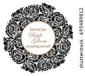 romantic invitation. wedding ... | Shutterstock .eps vector #695489812