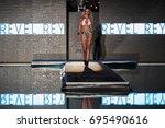 miami  fl   july 20  a model... | Shutterstock . vector #695490616