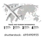 travel infographics  landmark... | Shutterstock .eps vector #695490955