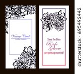 invitation with floral... | Shutterstock .eps vector #695493442