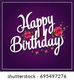 happy birthday with rose cartoon | Shutterstock .eps vector #695497276