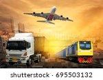 logistics and transportation of ... | Shutterstock . vector #695503132