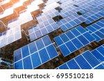 beautiful sunset over solar...   Shutterstock . vector #695510218