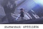 little futuristic knight with... | Shutterstock . vector #695511856