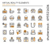 virtual reality   thin line and ... | Shutterstock .eps vector #695521636