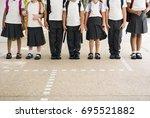 group of diverse kindergarten... | Shutterstock . vector #695521882