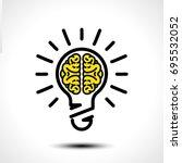 light bulb idea with brain... | Shutterstock .eps vector #695532052