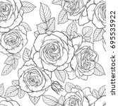 Stock vector beautiful monochrome black and white seamless pattern with roses leaves hand drawn contour lines 695535922