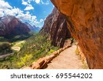 beautiful scenery in zion... | Shutterstock . vector #695544202
