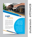 blue logo a4 brochure template. ... | Shutterstock .eps vector #695546428