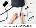 flat lay women workspace with... | Shutterstock . vector #695549836