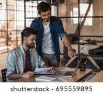attractive businessmen in... | Shutterstock . vector #695559895
