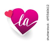 initial logo letter la with... | Shutterstock .eps vector #695560612