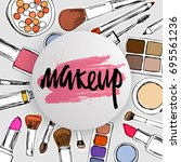 make up logo with cosmetics... | Shutterstock .eps vector #695561236
