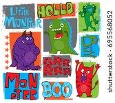 cute monsters print for t... | Shutterstock .eps vector #695568052