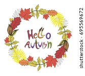 wreath vector. autumn leaves.... | Shutterstock .eps vector #695569672