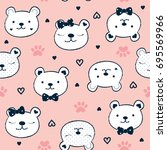 seamless pattern with teddy...   Shutterstock .eps vector #695569966