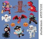 vintage halloween poster design ... | Shutterstock .eps vector #695572132