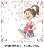 Happy Pregnant Woman Vector...
