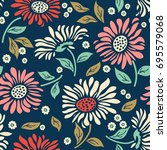 seamless colorful floral... | Shutterstock .eps vector #695579068