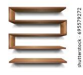 3d vector empty wooden wood... | Shutterstock .eps vector #695579272