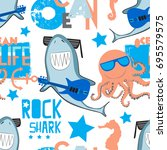cute pattern with rock shark ... | Shutterstock .eps vector #695579575