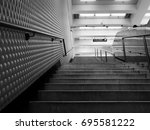 black and white subway stairs... | Shutterstock . vector #695581222