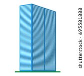 a modern high rise building on... | Shutterstock .eps vector #695581888