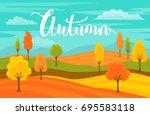 autumn fall cartoon landscape... | Shutterstock .eps vector #695583118