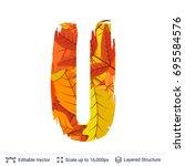 autumn fall bright orange... | Shutterstock .eps vector #695584576